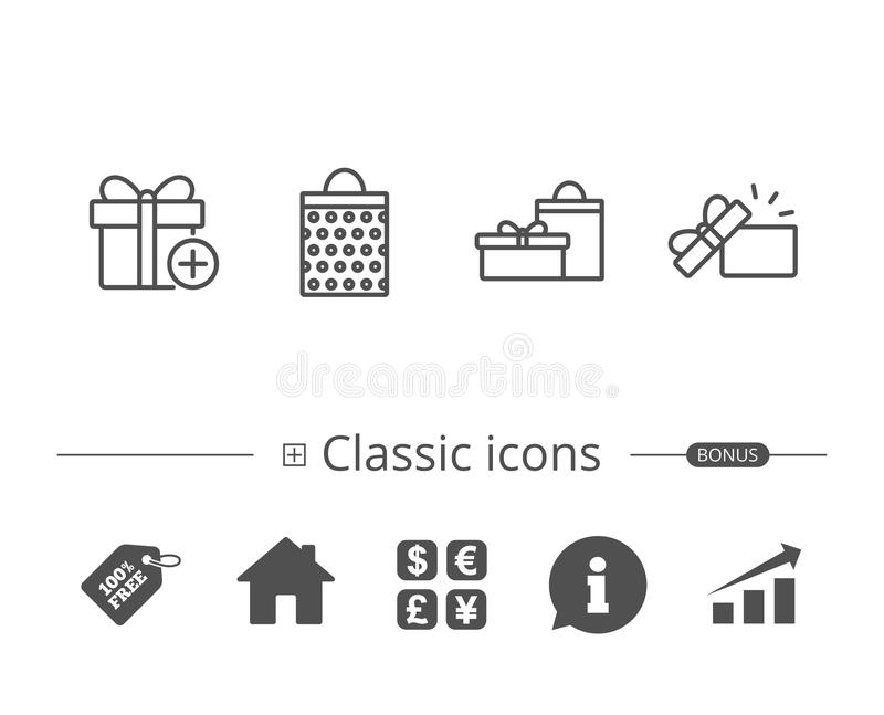 Gifts line icons. Present, Shopping bag. vector illustration