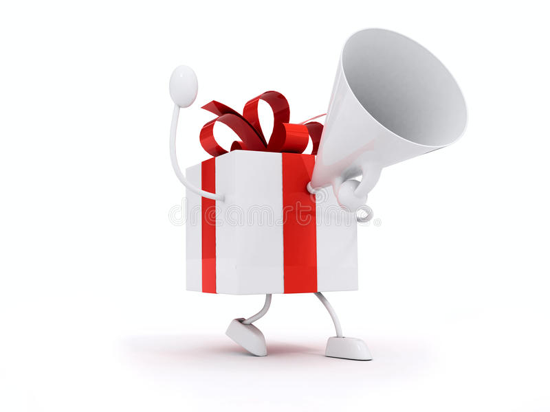 Gifts with megaphone. And red ribbons royalty free illustration