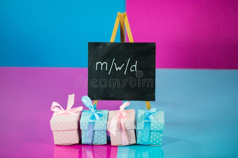 Gifts in pink and blue, male, female, diverse royalty free stock photos