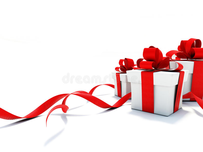 Gifts with red ribbons royalty free illustration