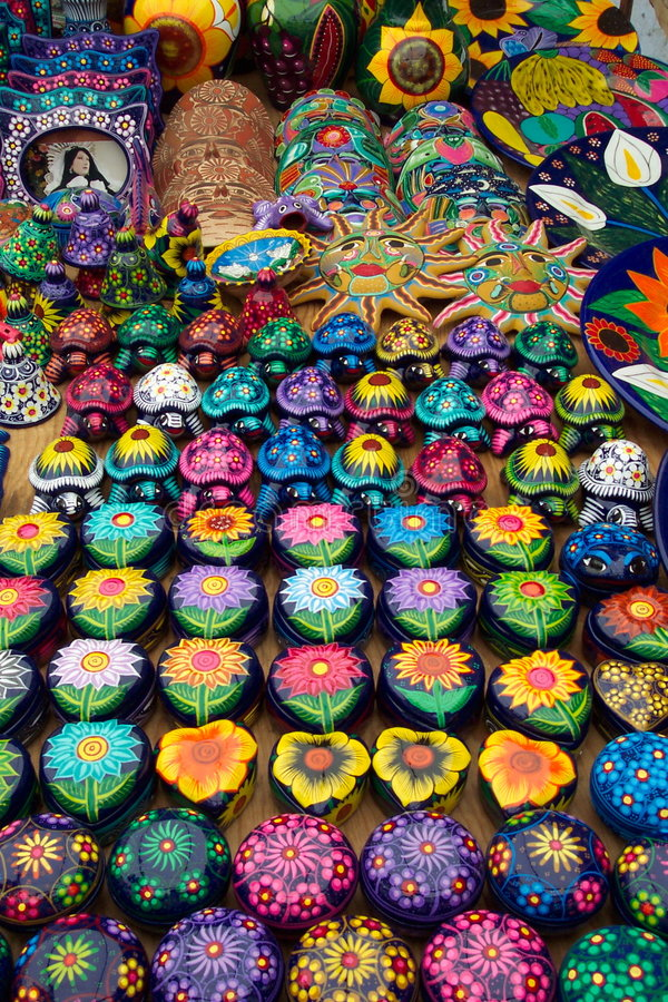 Gifts for Relatives. Photo of a souvenir stand on the street in Taxco Mexico. These souvenir stands are quite common throughout Mexico and feature reasonably