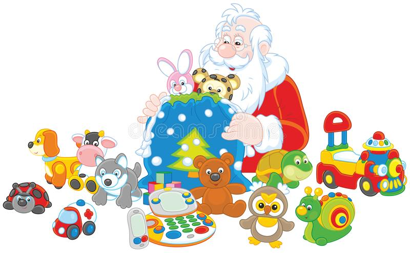 Gifts of Santa Claus royalty free illustration
