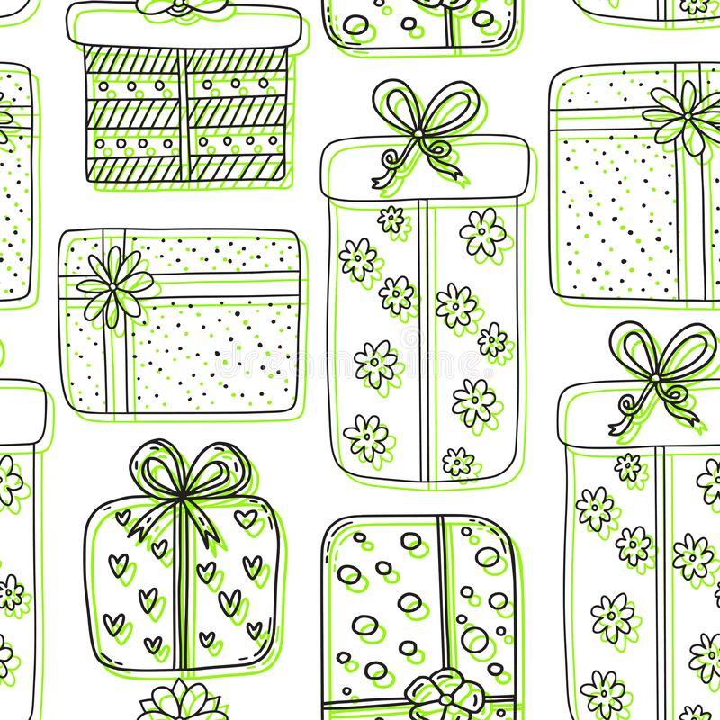 Gifts seamless pattern. New year or holidays background. Outline pattern with gift boxes. Wrapping paper design in green colors stock illustration