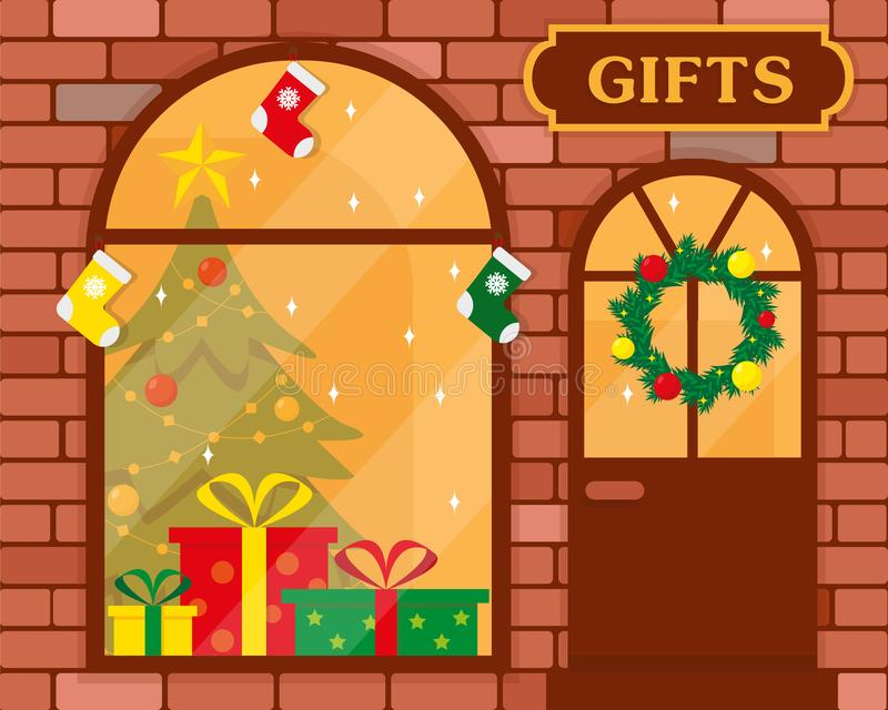 Gifts shop or Christmas store building exterior. royalty free illustration