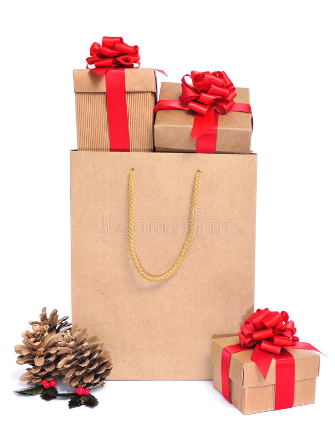 Gifts in a shopping bag stock photography