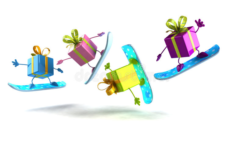 Gifts snowboarding. Ideal for christmas vector illustration