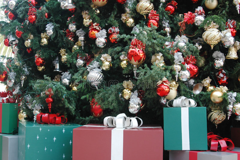 Gifts and Tree. A Christmas tree with gifts under it royalty free stock photos