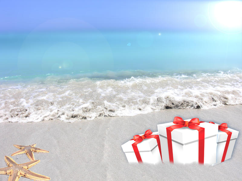 Gifts of tropical beach. Holiday Gifts on a tropical beach premise stock image