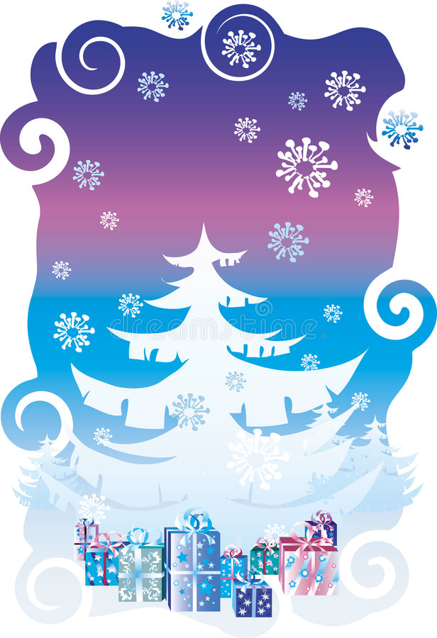 Gifts under Christmas tree vector illustration