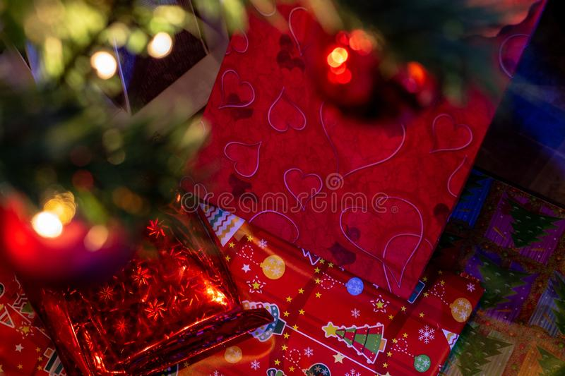 The gifts under the Christmas tree. stock image