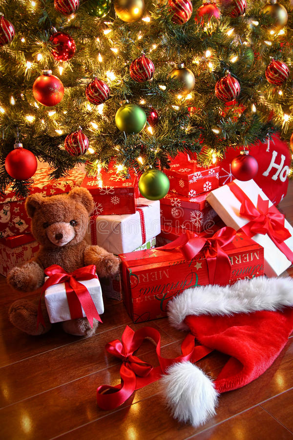 Gifts under the tree for Christmas royalty free stock photography