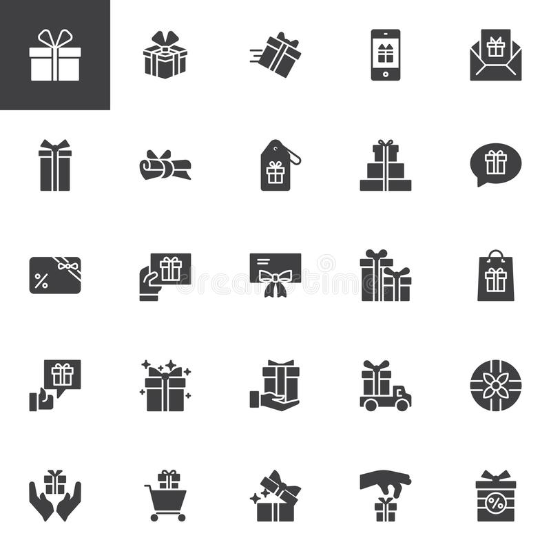 Gifts vector icons set royalty free illustration