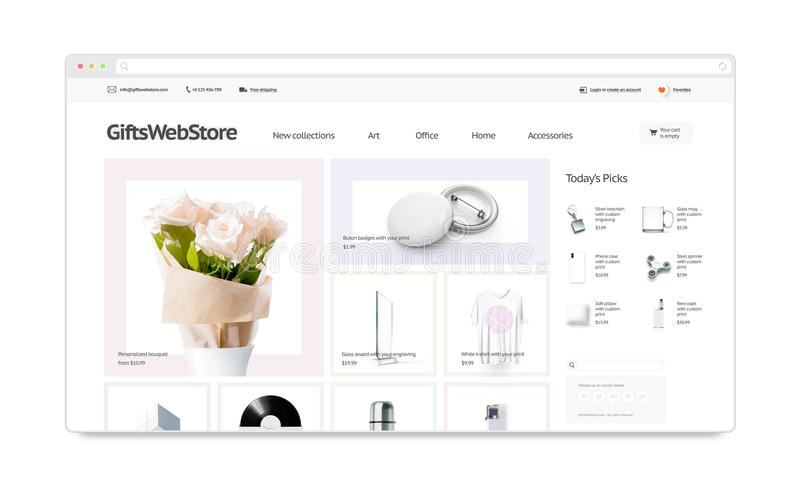 Gifts webstore site template mock up isolated, stock photos