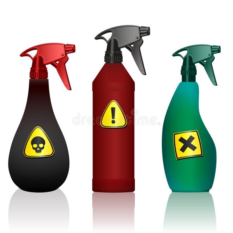Giftsprej buteljerar varning för toxinbekämpningsmedelfara stock illustrationer