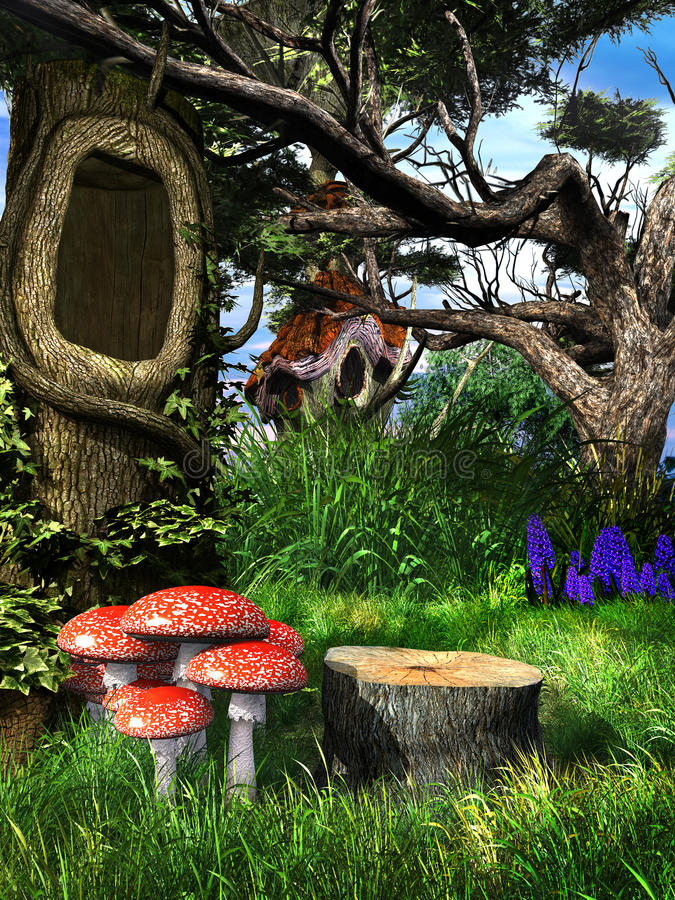 Giftsvampar under det ihåliga trädet vektor illustrationer