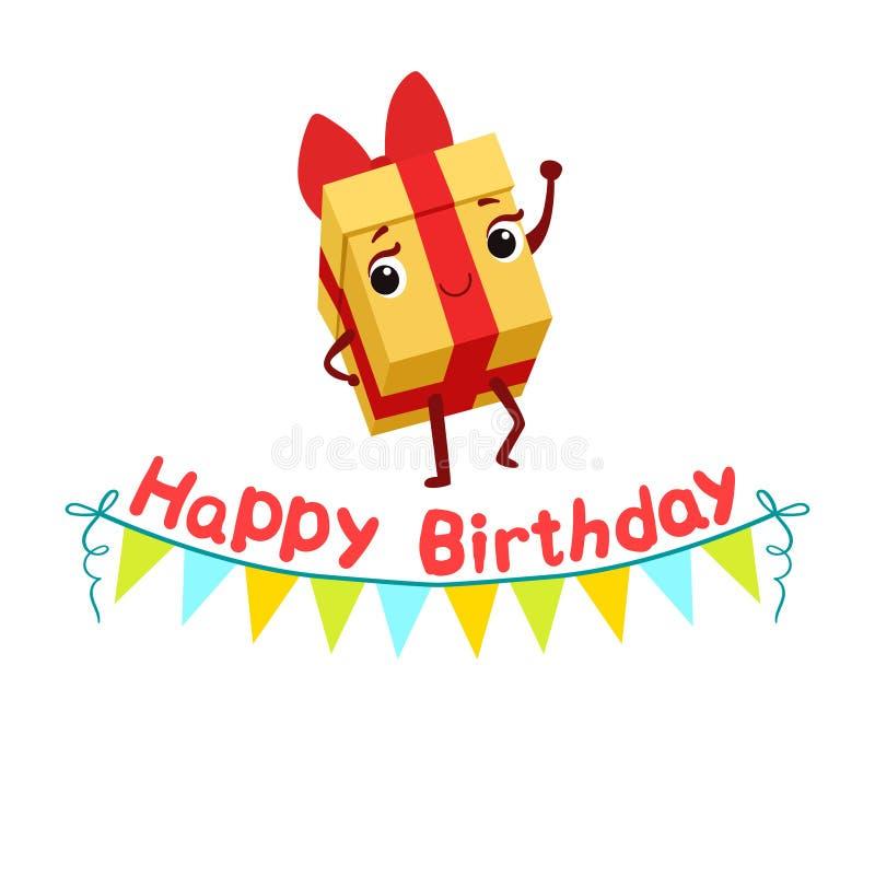 Giftvakje en Document Garland Kids Birthday Party Happy die het Geanimeerde Objecten Feestelijke Karakter glimlachen van Beeldver stock illustratie