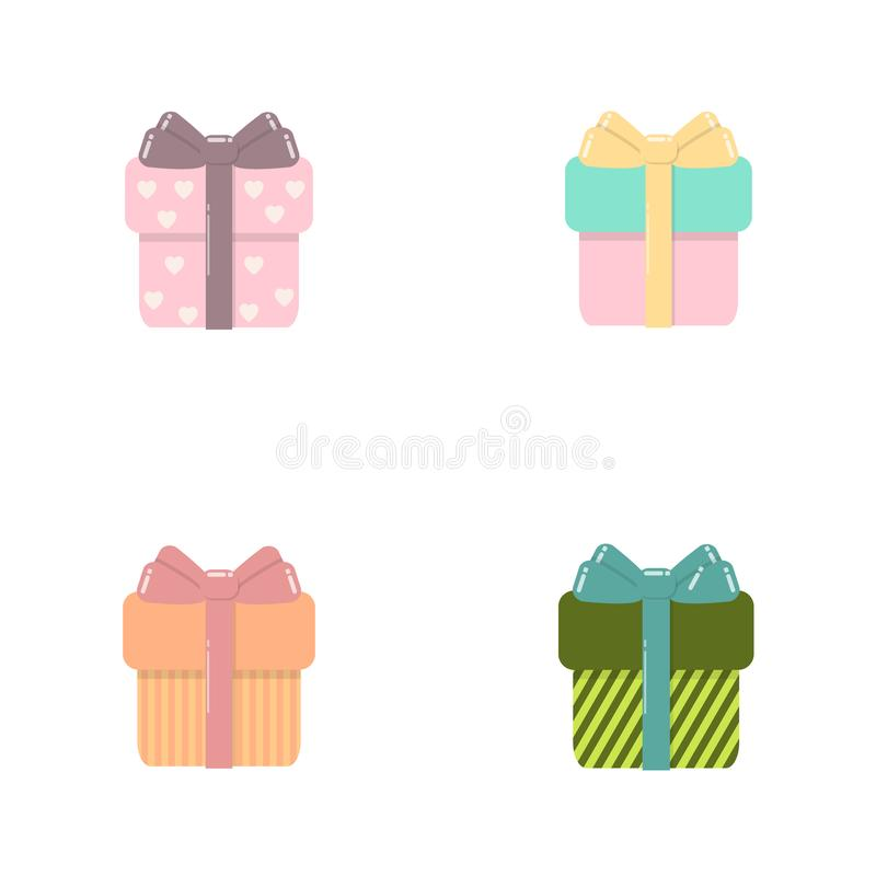 Giftvakjes geplaatst vectorillustratieverkoop, het winkelen, verjaardag, Kerstmisconcept voor grafisch ontwerp, embleem, website, stock illustratie