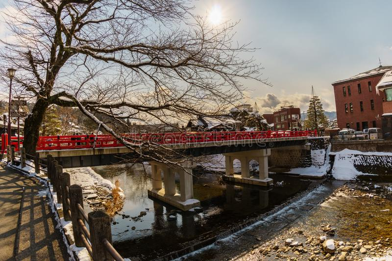 Miyagawanaka Bridge Old Red Bridge of Takayama in Winter royalty free stock image