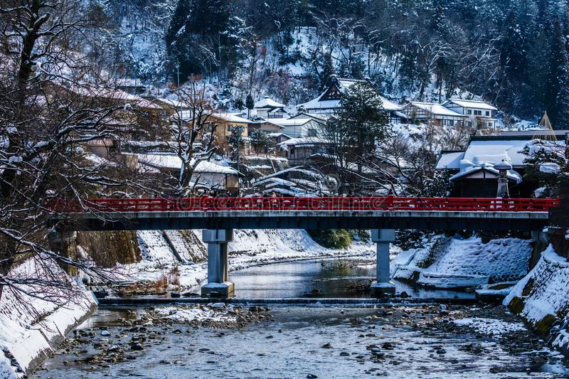 Miyagawanaka Bridge Old Red Bridge of Takayama in Winter stock photography