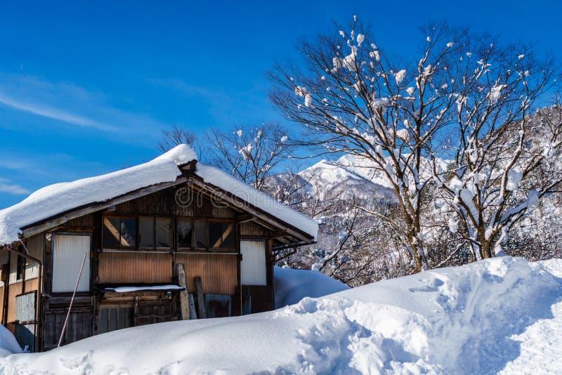 Urban house in Shirakawa-go with Snow stock photo
