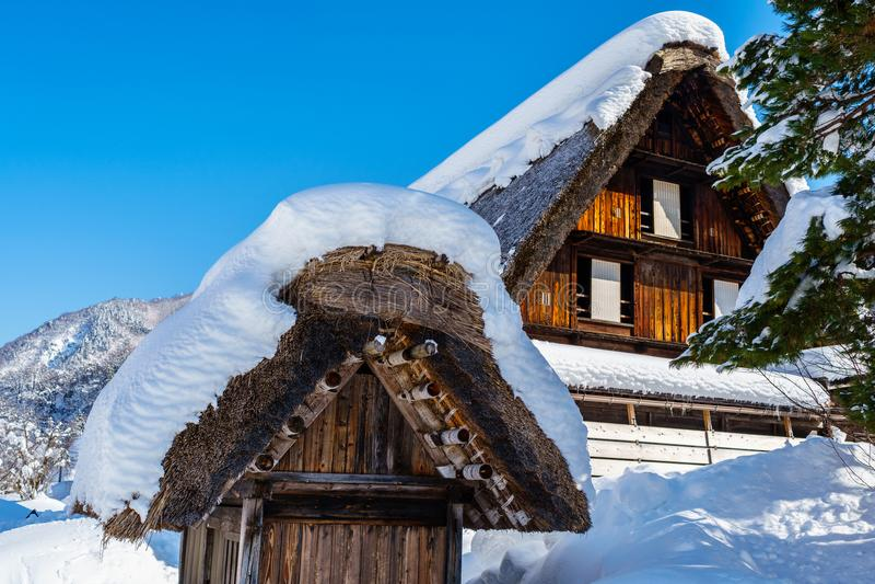 Urban house in Shirakawa-go with Snow royalty free stock image