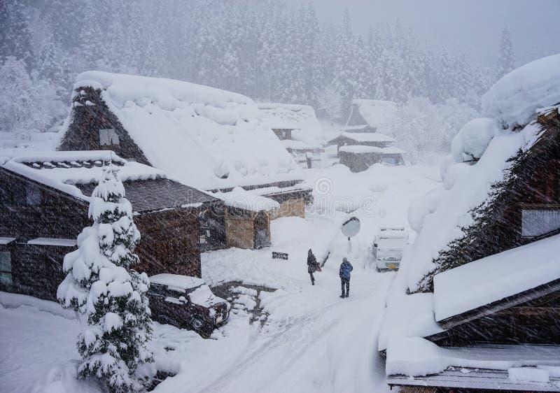 Winter at Shirakawa-go village in Gifu, Japan stock photos