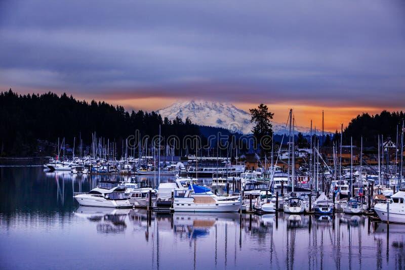 Gig Harbour Mt Rainier Washington State royaltyfri fotografi