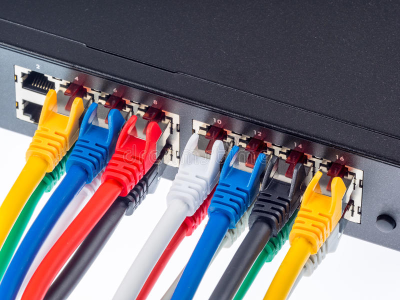 Gigabit switch. With UTP cables stock photo