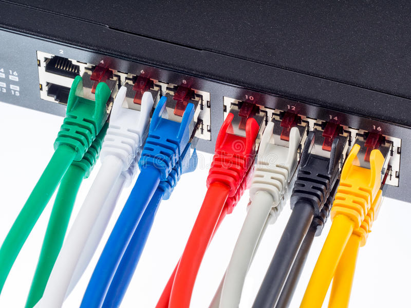 Gigabit switch. With UTP cables royalty free stock photo