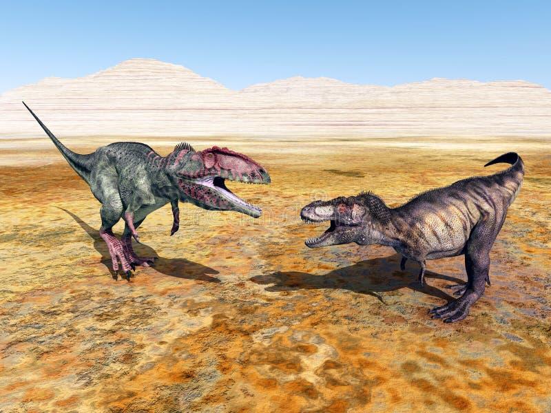 Giganotosaurus och tyrannosarie Rex stock illustrationer