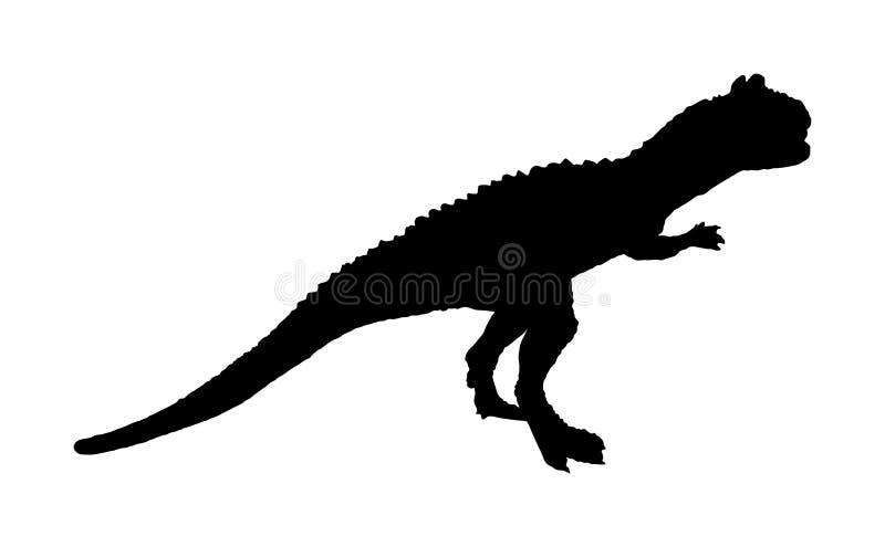 Giganotosaurus vectorsilhouet dat op witte achtergrond wordt geïsoleerd Dinosaurussensymbool o stock illustratie
