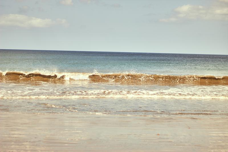 Gigant plaża w Nicaragua, oceanu krajobraz z turkusowymi wodami obrazy stock