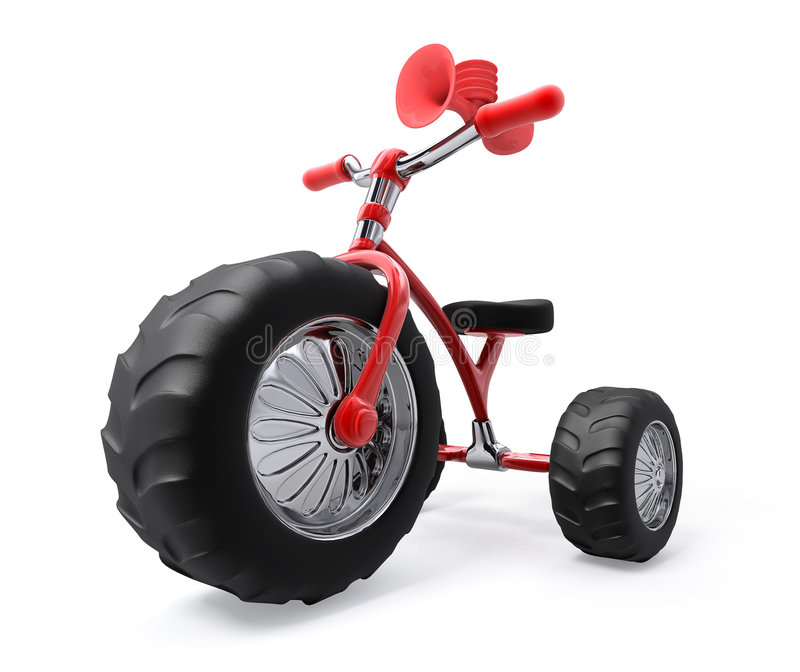 Gigant tricycle. Super tricycle with three mega gigant protectors