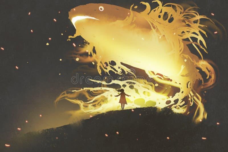 Giganta rybi unosić się w nocnym niebie nad mała dziewczynka ilustracja wektor