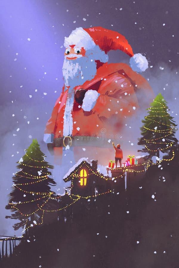 Gigante il Babbo Natale che dà i contenitori di regalo ad un ragazzo royalty illustrazione gratis