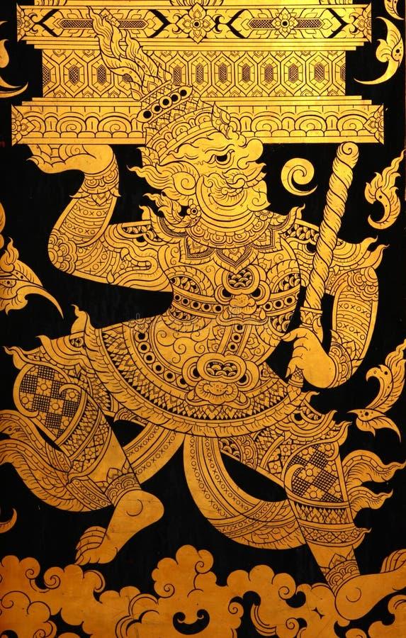 Gigante na pintura tailandesa tradicional da arte do estilo fotografia de stock