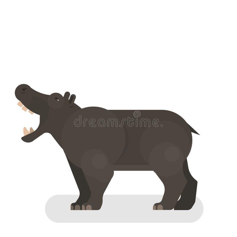 Gigante ou hipopótamo de África Hipopótamo selvagem ilustração do vetor
