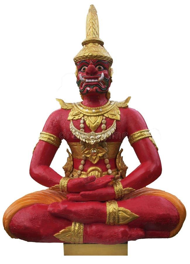 Gigante vermelho antigo no assento da meditação imagem de stock