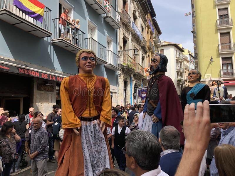 Gigantes de la Chantrea em Pamplona, Espanha foto de stock