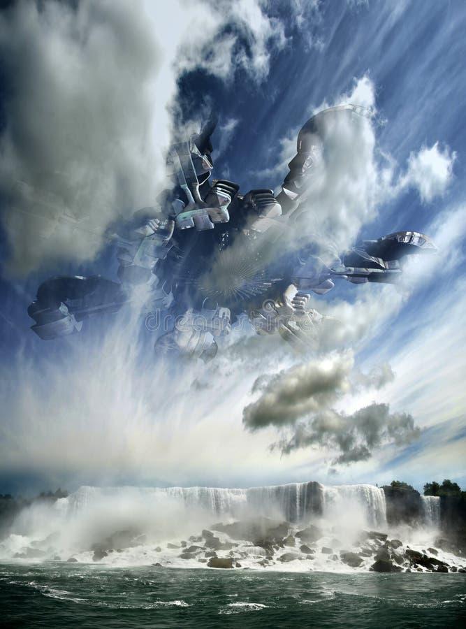 Hidden Alien Spaceship Over the Waterfall. Gigantic alien spaceship nearly hidden among clouds, over the Niagara waterfalls vector illustration