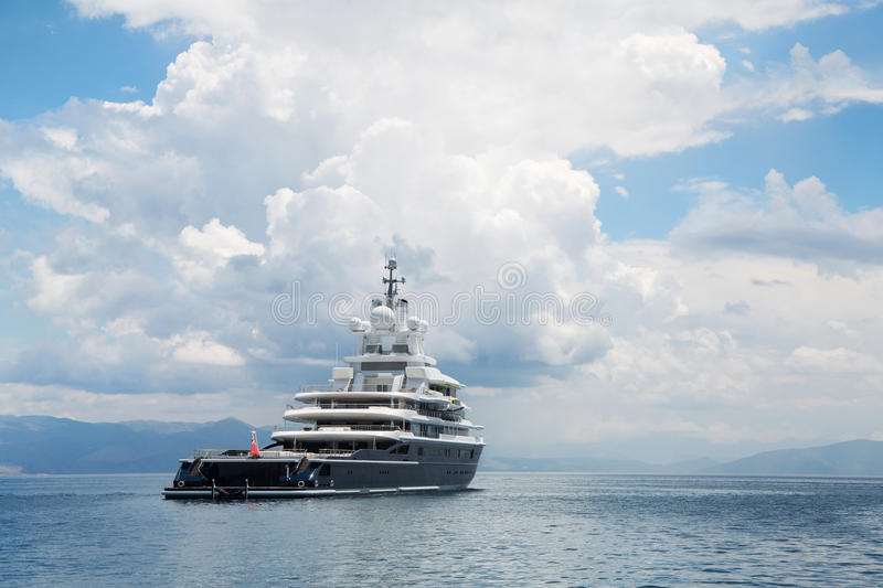Download Gigantic Big And Large Luxury Mega Yacht With Helicopter Landing Stock Image