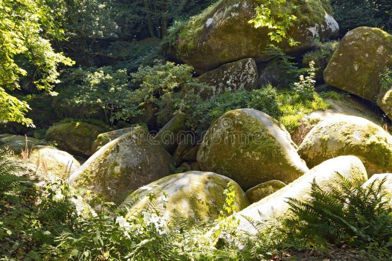 The Gigantic Boulders of Huelgoat Forest, France stock images