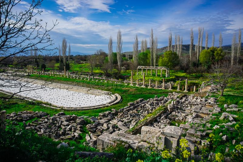 Gigantic Roman swimming pool from Aphrodisias Afrodisias Ancient City in Caria, Karacasu, Aydin, Turkey. Aphrodisias was named after Aphrodite, the Greek royalty free stock photo