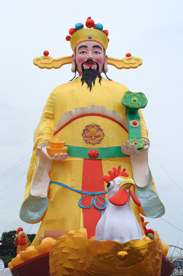 Gigantic tall statue decoration of the God of Fortune royalty free stock images