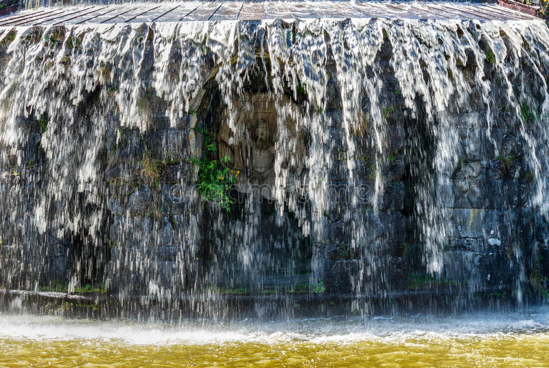 Gigantic water cascades during water features in the Wilhelmshoehe mountain park in Kassel, Germany stock photos