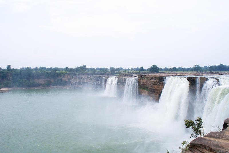 The gigantic waterfalls of Chitrakoot, Central India. The gigantic waterfalls of Chitrakoot, on the Indravati River in Central India, is called as The Niagara stock photo