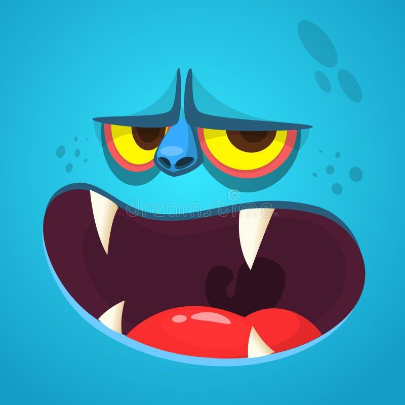 Gigantisk framsida för tecknad film Gigantisk avatar för vektorallhelgonaaftonblått med den öppna munnen med skarpa tänder royaltyfri illustrationer