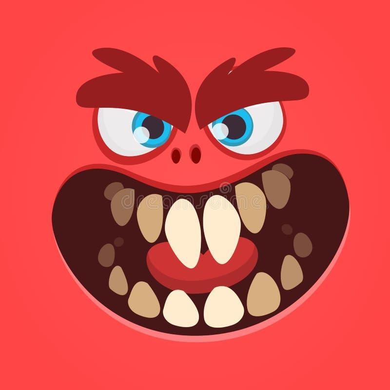 Gigantisk framsidadesign för ilsken tecknad film Röd gigantisk illustration för vektorallhelgonaafton royaltyfri illustrationer