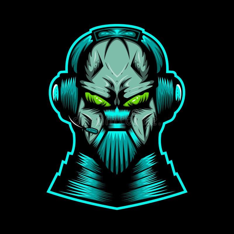Gigantisk illustration för headphonemaskotvektor royaltyfri illustrationer