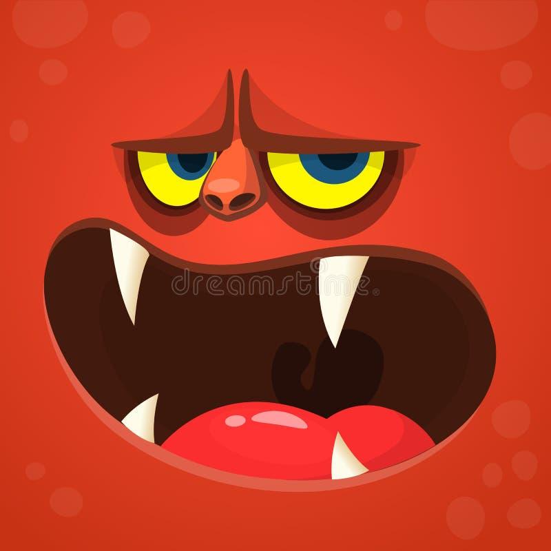 Gigantisk jäkelframsida för tecknad film Röd gigantisk avatar för vektorallhelgonaafton med den öppna munnen med skarpa tänder stock illustrationer